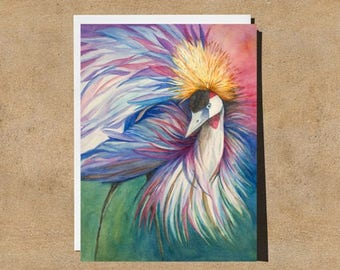 Crowned Crane 5X7 Fine Art Watercolor Greeting Card