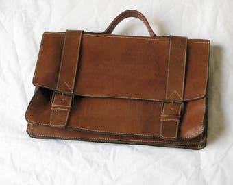 """Rugged Design Raw Leather Briefcase 16"""" Laptop Case Dark Brown Rugged Portfolio"""