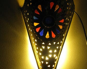 Wall lamps Authentic Moroccan iron of christmas Patterned Glass Perfect For wall decorative 40X18 Cm