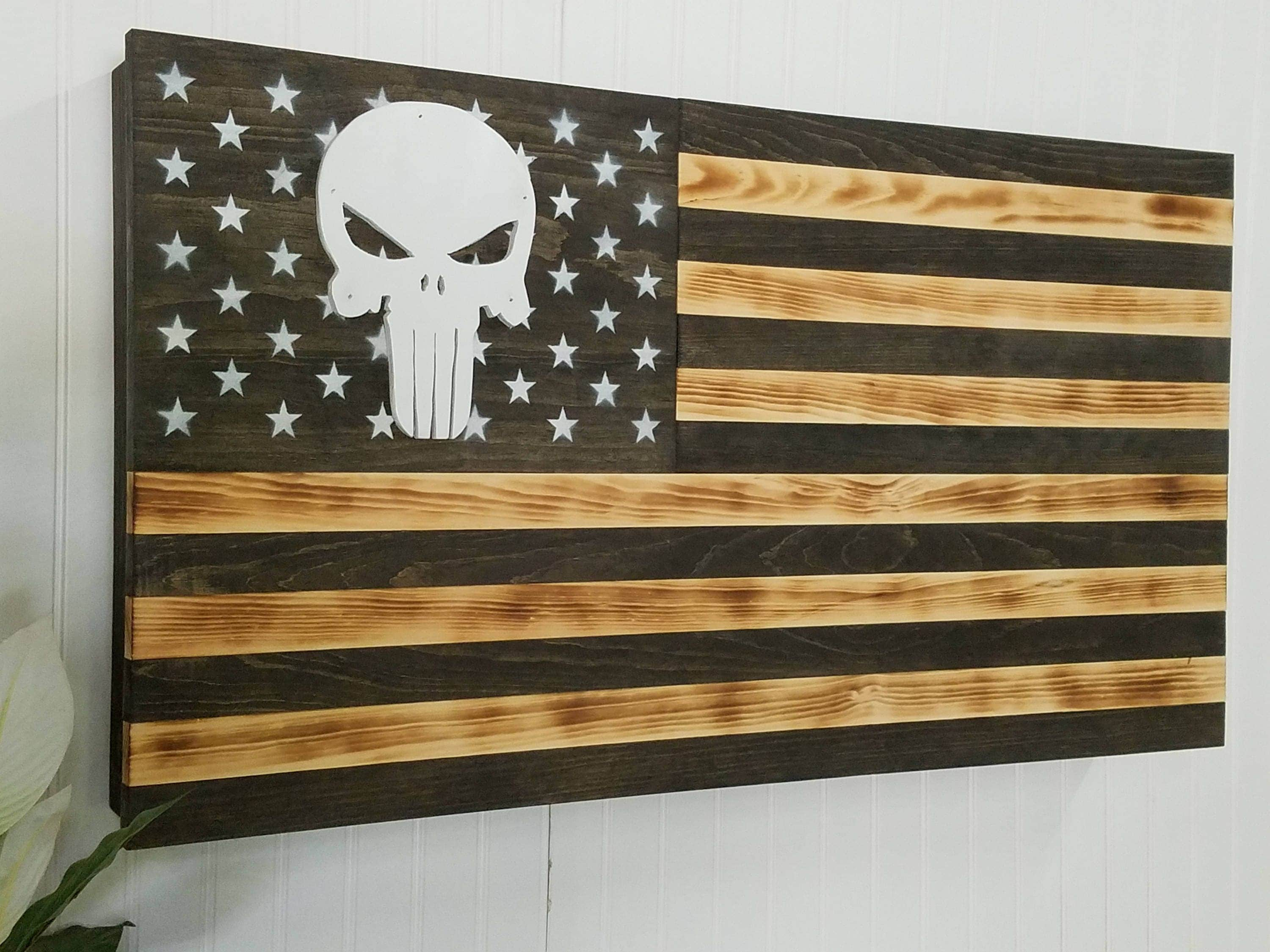 Punisher American Flag Usa AR 15 Concealment Furniture Compartment Cabinet  Secret Hidden Gun Rack Tactical Stroage Safe Home Protection Case