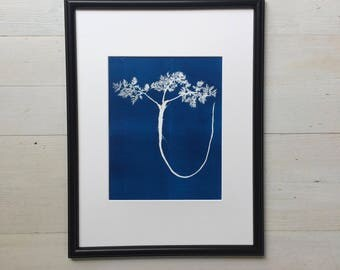 Blue Fern Print, Blue Fern Print, blue botanical, blue wall art, blue art, fern botanicals, fern illustration, fern art, fern decor, Linton