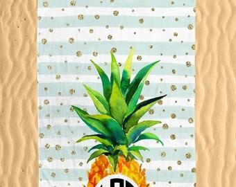 Personalized Pineapple Beach Towel - Watercolor Mint Stripe Glitter Colorful Pineapple Print Monogram 30x60 Beach Towel