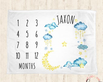 Baby Milestone Blanket - Moon n Stars Receiving Baby Monthly Milestone Blanket Photo Prop Blanket with Calendar - 30x40, 50x60, 60x80
