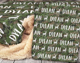 Personalized Blanket - Sherpa Throw Blanket -  Camo Blanket - Army Camoflauge Blanket - Personalized Name Blanket - Baby Blanket - Sherpa
