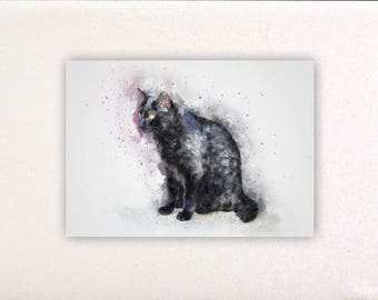 Black cat - Watercolor prints, watercolor posters, nursery decor, nursery wall art, wall decor, wall prints 1 | Tropparoba 100% made Italy