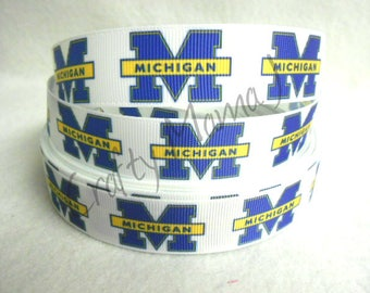 "LAST CUT of University of Michigan 1"" Grosgrain Ribbon 10 yards. College University"