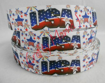 "USA in American Flag Colors Printed 7/8"" Grosgrain Ribbon by the yard. Choose between 3/5/10 yards. America Red, white and blue"