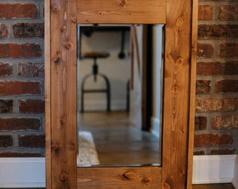 Rustic Wood-Framed Wall Mirror