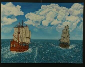 "Mix Media Painting/Sculpture Titled: ""Battle Storm"" 48""x36"""