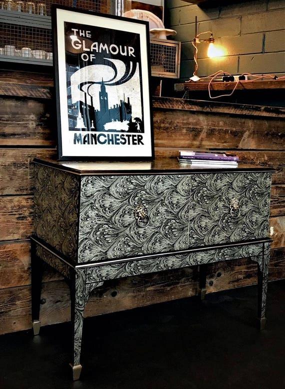 "Stunning vintage Schreiber radiograme media cabinet glamorised in striking ""gilver"" pattern"