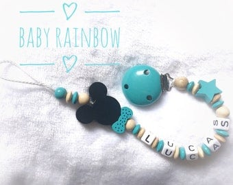 Wooden pacifier, pacifier beads Mickey - Minnie