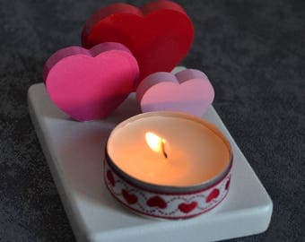 Three hearts shades for a candle holder full of love