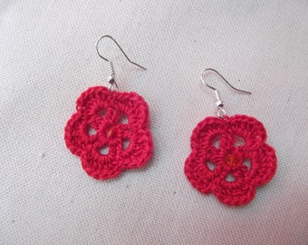 Red flowers and Swarovski pearls