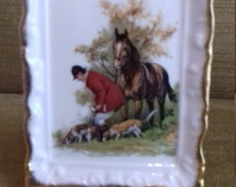 Rare Royal Grafton fine bone china fox hunting scene miniature