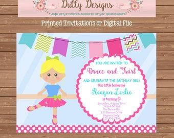 Ballerina Birthday Invitation,Ballerina Invitation,Ballerina Birthday Invite, Ballerina Invite, Ballerina Birthday Invite