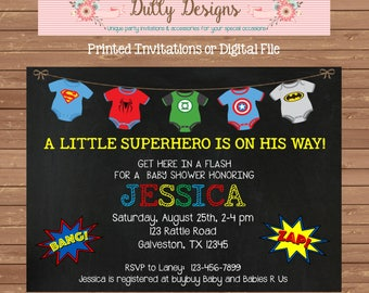 Superhero Baby Shower Invitation Super Hero Baby Shower