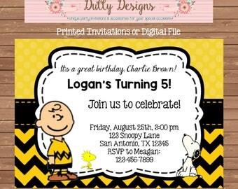 Charlie Brown Birthday Invitation, Charlie Brown Birthday Invite, Charlie Brown Invitation,Charlie Brown Invite,Charlie Brown Birthday Party