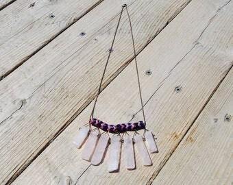 Rose Quartz and African Bead Pendant Necklace