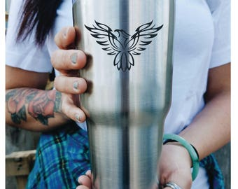 Phoenix Bird Custom Engraved Tumbler with lid PERSONALIZED Gift Idea etched yeti tumbler Rambler 30 ounce steel tumbler