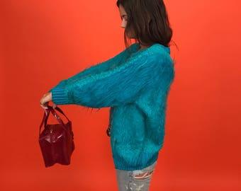 Ragamuffin crochet & shag hair cardigan M