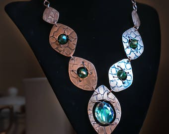 Hammered Copper Ovals with Green Glass Beads Necklace