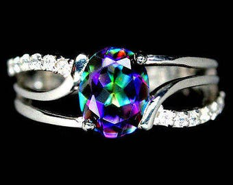 Ring in 925 silver plated white gold and mystic quartz (azotic)