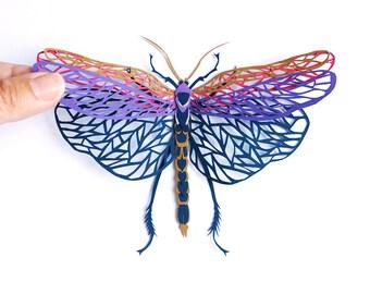 Miniature Paper Sculpture / Grasshopper Paper Cut / Insect Paper Cut / Miniature Bee Paper Cut / Papercutting Grasshopper/ Papercut Art Gift