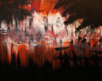 Silent Inferno - large acrylic artwork on canvas, original paintings, 100% handmade, contemporary modern art, wall decoration