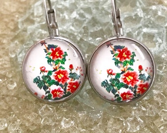 Red Floral Earrings, Floral Earrings, Red Earrings, Red Flower Earrings, Dangle Earrings, Floral Jewelry, Cherry Blossom, Floral Jewellery