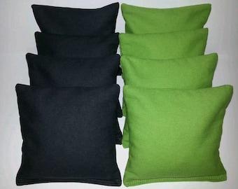 Set Of 8 Black & Lime Cornhole Bean Bags