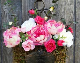 Peonies/Roses/Spring Decor/Spring Flowers/Pink/Floral Basket/French Decor/Parisian/Metal Basket/Antiqued/Moss/Hanging Basket/Eucalyptus
