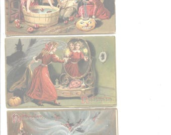 3 Vintage Halloween postcards Tucks Rare Witch JOL Woman In Mirror Witch On Side Collectible Embossed & Catalogued