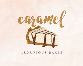 Hand-painted Watercolor Realistic Piece of Cake Pre-made Logo Design in earthy caramel tones