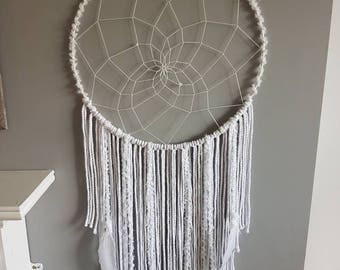 Big white dream catcher, bohemian dream catcher, dream catcher, wedding dream catcher, dreamcatcher, floral wall hanging, dreamcatcher.