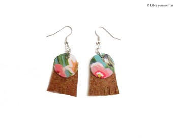 TROPICALIEGE / / round earrings with fringe in Cork pattern