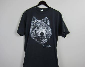 80s Diamond Dust '81 Black Sparkle Wolf Head Minnesota Short Sleeve TShirt
