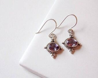 Sterling Silver and Amethyst Gemstone Earrings. Februaury Birthstone, Purple Gemstones,Silver Earrings