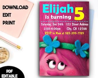 Trolls Birthday, Trolls Invitation, Trolls Party, Trolls Invitation Download, Trolls PDF Editable Template, Trolls PDF Instant Download