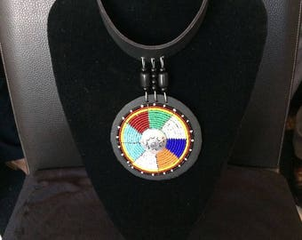 African Bib Necklace - leather 1 pendant
