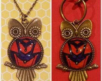 Vintage Tibetan Style Owl Necklace or Keychain