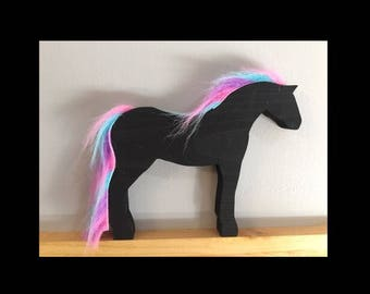 Wooden black magic pony. Toy animal horse waldorf my little pony pegasus unicorn
