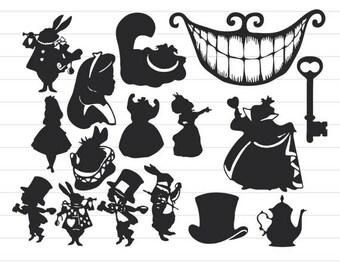 INSTANT DOWNLOAD - Alice in Wonderland Silhouettes, Alice in Wonderland Svg Cut Files, Alice in Wonderland Svg, Disney Alice Clip Art