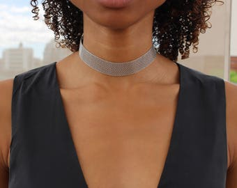 Chainmail Choker / Mesh Choker / Gold Mesh Choker / Choker Necklace / Statement Choker / Birthday Idea / Metal Mesh Choker