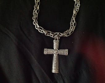 Double chain link necklace with cross