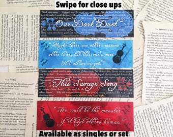 This Savage Song Series bookmarks