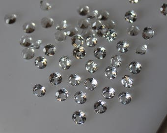 2 mm White Topaz round Faceted  Loose Gemstone AAA Quality