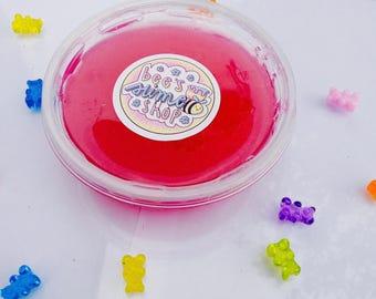 NEW!- Yummy Gummy!- Clear slime, choice of 4 colours, comes with gummy bear charm!-8oz