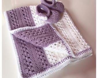 Baby Girl Crochet Blanket & Booties Set
