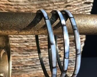 Bangle Bracelets - Bracelet Set - Abalone Shell - Vintage Bracelet