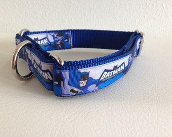 Martingale Dog Collar, Large Blue Martingale Collar, Large Blue Batman Cartoon Martingale Dog Collar, Large Adjustable Batman Dog Collar